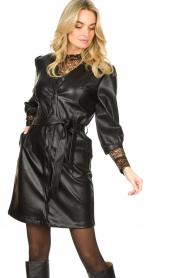 Aaiko |  Faux leather button-up dress Pleun | black  | Picture 4