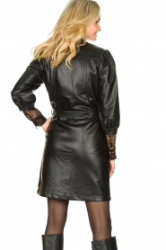 Aaiko |  Faux leather button-up dress Pleun | black  | Picture 6