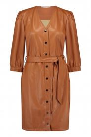 Aaiko |  Faux leather button-up dress Pleun | camel  | Picture 1