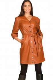 Aaiko |  Faux leather button-up dress Pleun | camel  | Picture 4