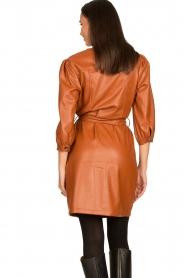Aaiko |  Faux leather button-up dress Pleun | camel  | Picture 7