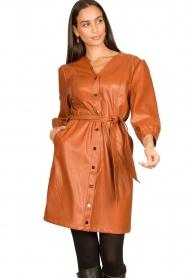 Aaiko |  Faux leather button-up dress Pleun | camel  | Picture 2