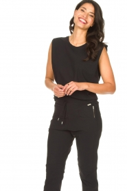 D-ETOILES CASIOPE |  Travelwear top with shouder pads Aline | black  | Picture 4