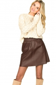 Second Female |  Lamb leather skirt Melvin | brown  | Picture 2