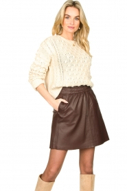 Second Female |  Lamb leather skirt Melvin | brown  | Picture 4