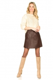 Second Female |  Lamb leather skirt Melvin | brown  | Picture 3