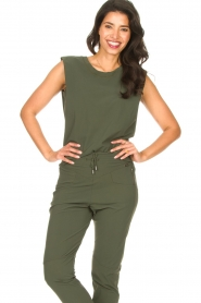 D-ETOILES CASIOPE |  Travelwear top with shouder pads Aline | green  | Picture 2