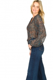 Second Female |  Flared blouse with print Movement | black  | Picture 5
