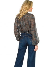 Second Female |  Flared blouse with print Movement | black  | Picture 6
