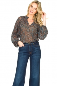 Second Female |  Flared blouse with print Movement | black  | Picture 4