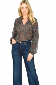 Second Female |  Flared blouse with print Movement | black  | Picture 2