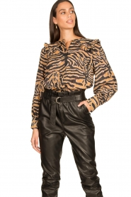 Second Female |  Zebra printed blouse Zebraly | brown  | Picture 2