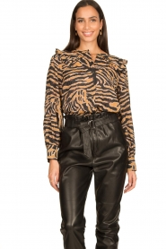 Second Female |  Zebra printed blouse Zebraly | brown  | Picture 4