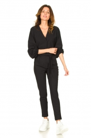 D-ETOILES CASIOPE |  Travelwear pants with tie belt Antigua | black  | Picture 2