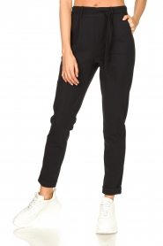 D-ETOILES CASIOPE |  Travelwear pants with tie belt Antigua | black  | Picture 5