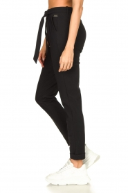 D-ETOILES CASIOPE |  Travelwear pants with tie belt Antigua | black  | Picture 7
