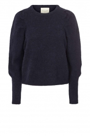 Lolly's Laundry |  Sweater with puff sleeves Priscilla | dark blue  | Picture 1