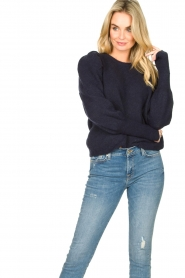 Lolly's Laundry |  Sweater with puff sleeves Priscilla | dark blue  | Picture 2