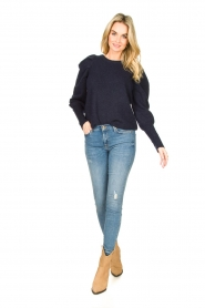 Lolly's Laundry |  Sweater with puff sleeves Priscilla | dark blue  | Picture 3