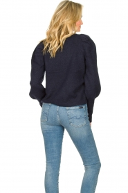 Lolly's Laundry |  Sweater with puff sleeves Priscilla | dark blue  | Picture 6