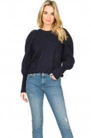 Lolly's Laundry |  Sweater with puff sleeves Priscilla | dark blue  | Picture 4