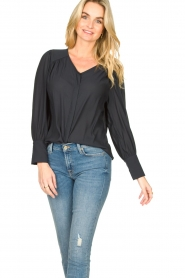 Second Female |  Blouse with puff sleeves Sicily | black  | Picture 2