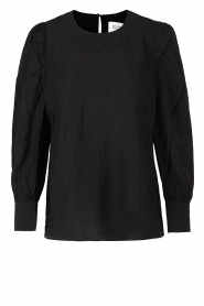 Second Female |  Crêpe blouse with puff sleeves Jasmin | black  | Picture 1