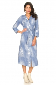 D-ETOILES CASIOPE |  Travelwear printed midi dress Amber | blue  | Picture 4