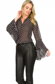 Fracomina |  Blouse with trumpet sleeves Flair | black & white  | Picture 2