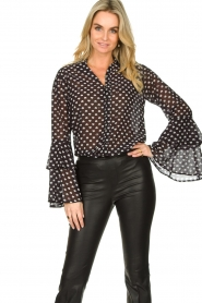 Fracomina |  Blouse with trumpet sleeves Flair | black & white  | Picture 4