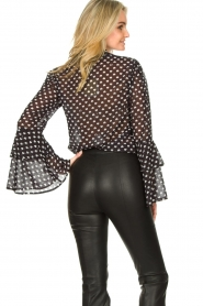 Fracomina |  Blouse with trumpet sleeves Flair | black & white  | Picture 5