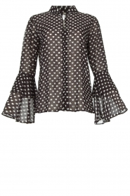 Fracomina |  Blouse with trumpet sleeves Flair | black & white  | Picture 1