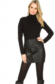 Fracomina |  Turtleneck sweater with ruffles Pull | black  | Picture 4
