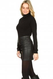 Fracomina |  Turtleneck sweater with ruffles Pull | black  | Picture 5