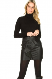 Fracomina |  Turtleneck sweater with ruffles Pull | black  | Picture 2