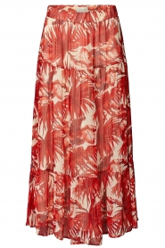 Lolly's Laundry |  Leaf print maxi skirt with lurex Bonny | red  | Picture 1
