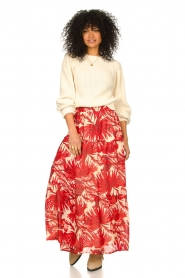 Lolly's Laundry |  Leaf print maxi skirt with lurex Bonny | red  | Picture 2