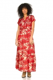Lolly's Laundry |  Leaf print maxi skirt with lurex Bonny | red  | Picture 4