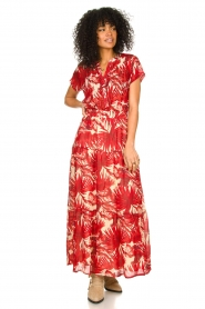Lolly's Laundry |  Leaf print maxi skirt with lurex Bonny | red  | Picture 3