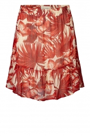 Lolly's Laundry |  Leaf print skirt with lurex Alexa | red  | Picture 1