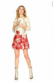 Lolly's Laundry |  Leaf print skirt with lurex Alexa | red  | Picture 3