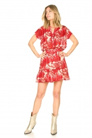 Lolly's Laundry |  Leaf print skirt with lurex Alexa | red  | Picture 4