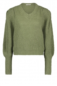 Aaiko |  Knitted sweater with puff sleeves Mascha | green  | Picture 1