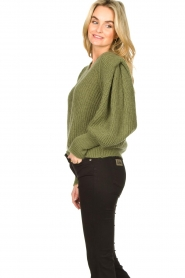 Aaiko |  Knitted sweater with puff sleeves Mascha | green  | Picture 5