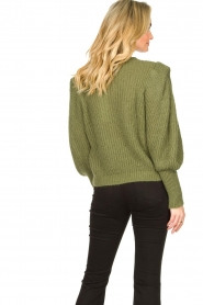 Aaiko |  Knitted sweater with puff sleeves Mascha | green  | Picture 6