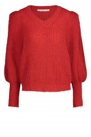 Aaiko |  Knitted sweater with puff sleeves Mascha | red  | Picture 1