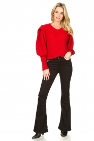 Aaiko |  Knitted sweater with puff sleeves Mascha | red  | Picture 3