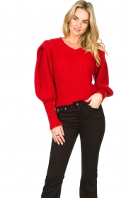 Aaiko |  Knitted sweater with puff sleeves Mascha | red  | Picture 4