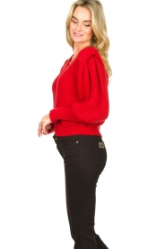 Aaiko |  Knitted sweater with puff sleeves Mascha | red  | Picture 5