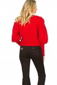 Aaiko |  Knitted sweater with puff sleeves Mascha | red  | Picture 6